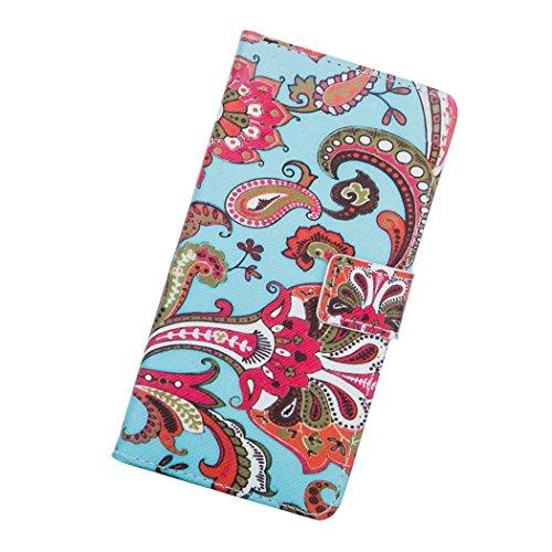 Housse Coque Portefeuille pour Apple iPhone 5C - Aohro Elegant Bookstyle PU Cuir Flip Magnétique Wallet Étui Cover Case avec Fonction Stand + Stylet + Dust Plug - motif Plume Bleu et blanc