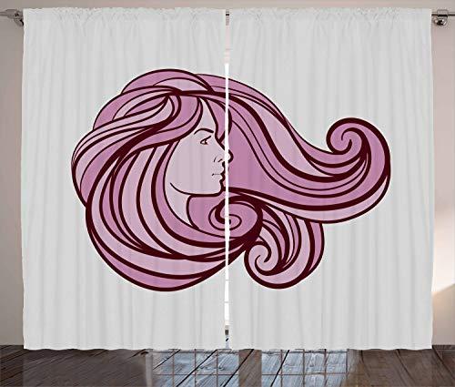 stikaler Gardine, Nachsichtig Pinky Haar, Schlafzimmer Kräuselband Vorhang mit Schlaufen und Haken, 280 x 245 cm, Burgund Blassrosa und Perle ()