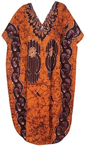 La Leela 100% cotone signore di batik tutto a 1 più il costume da bagno dimensione coprire beachwear vestito classico vestito abito sera casual lounge lunghi sciolti maxi aloha caftano nightclassic Marrone