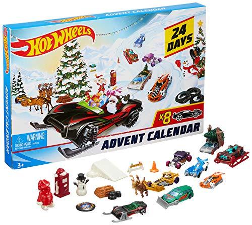 Hot Wheels- Calendario dell'Avvento, 24 Sorprese da Scoprire, Giocattolo per Bambini 4+ Anni, FYN46