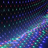 FROADP 6x2 m LED wasserdichte Indoor Outdoor Net lights Lichternetz Vorhang Lichter Netz Beleuchtung Deko Weihnachten Halloween Hochzeit Party...