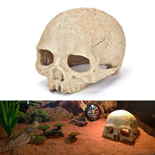YUYOUG Fisch Tank Aquarium Ornament, Terrarien Dekoration Kunstharz Künstliche Schädel Menschliches Skelett Halloween Decor 14