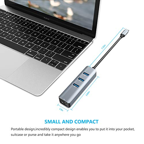 USB C to Ethernet Adapter,Vilcome RJ45 to USB C Thunderbolt 3/Type-C Gigabit Ethernet LAN Network Adapter, Compatible for MacBook Pro 16'' 2019/2018/2017, MacBook Air, Dell XPS and More