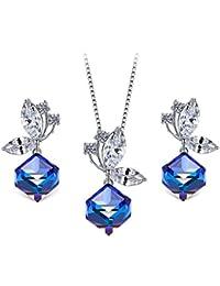T400 Jewelers Schmetterling Schmuck Set kubische Anhänger Halskette und Ohrringe mit Swarovski-Kristallen Saphir Blau gemacht,Farbe ändern,Muttertag Geschenke für Mutter