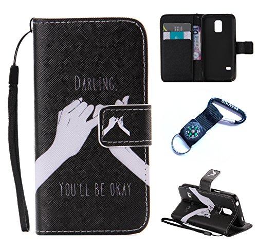 Preisvergleich Produktbild für Samsung Galaxy S5 mini Hülle Blume Premium PU Leder Schutzhülle für Samsung Galaxy S5 mini (4,5 Zoll (11,4 cm) Bookstyle Tasche Schale PU Case mit Standfunktion+Outdoor Kompass Schlüsselanhänge) (6)