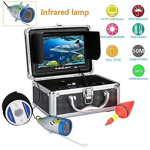 Ennio 17,8cm inch 1000tvl 50m Underwater Pêche Caméra vidéo kit 12pcs LED Lampe infrarouge lumières vidéo de poissons Lac sous l