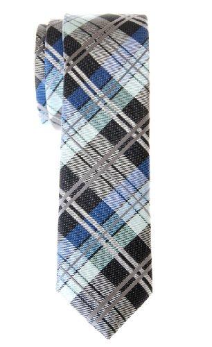 Retreez Herren Schmale Gewebte Krawatte Elegante Tartan Plaid Karo 5 cm - dunkelgrau und blau (Plaid-krawatte Blaue)