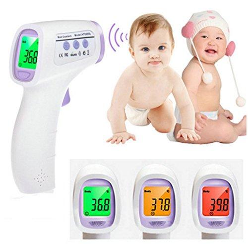 Tinabless Bébé Adulte Multifonction Numérique Oreille Thermomètre Enfant Sans Contact du corps Thermomètre Infrarouge Bébé Sain Moniteurs Front Forehead Ear Thermometer Appareil de mesure avec trois couleurs de rétroéclairage