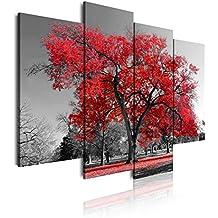 b099e189fd6 Dekoarte 41 - Cuadro moderno en lienzo 4 piezas paisaje naturaleza con árbol  rojo