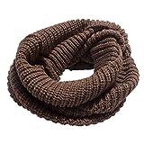 Moda Unisex Bufandas Tejidas Cuello Caliente 2 Círculo Color sólido Bufanda Chal (Marrón)