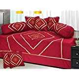 Rinki Home Furnishing 160 TC Cotton Diwan Set,(Set Of 8) 1 Single Bedsheet (90 X 60 Inches), 5 Cushion Covers (16 X 16 Inches) And 2 Boester Covers (16 X 31 Inches) Multi