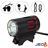 JED® Rechargable Bicycle Head Light with 2 in1 CREE XM-L T6 LED & 3000 Lumen Super Powerful Light in Black & Red Color with Daytime Running Light(DRL)