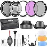 Neewer 52mm Professionel Kit d'Accessoire pour Nikon D7100 D7000 D5200 D5100 D5000 D3300 D3200 D3100 D3000 D90 D80 Appareils Photo Reflex Num�riques - Inclus: Ensembre de Filtre (UV, CPL, FLD) + Sac de Transport + Parasoleils (Tulipe et Pliant) + Kit de Flash Diffuseur + Bouchons d'Objectif (Centre Pincement et Snap-On) + Laisse de Bouchon Garde + Kit de Nettoyage Luxueux + Chiffon de Nettoyage en Microfibre