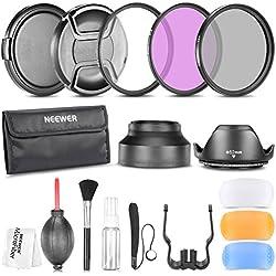 Neewer 52mm Professionel Kit d'Accessoire pour Nikon D7100 D7000 D5200 D5100 D5000 D3300 D3200 D3100 D3000 D90 D80 Appareils Photo Reflex Numériques - Inclus: Ensembre de Filtre (UV, CPL, FLD) + Sac de Transport + Parasoleils (Tulipe et Pliant) + Kit de Flash Diffuseur + Bouchons d'Objectif (Centre Pincement et Snap-On) + Laisse de Bouchon Garde + Kit de Nettoyage Luxueux + Chiffon de Nettoyage en Microfibre