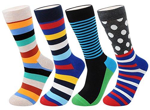 FULIER Mens 4 Pack Streifen Baumwolle Reich, komfortabel, atmungsaktiv, Smart Design Mode Farbige Socken 6-11 (Color2) (Mens Lounge-hose Neuheit)