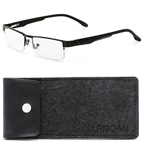 Lesebrillen Metall Sehhilfe Augenoptik Halbrand Halbrandbrille Brille Lesehilfe für Damen Herren von 1.0 1.5 2.0 2.5 3.0 3.5 4.0 (Schwarz, 2.5)