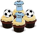 MANCHESTER CITY FUßBALL MISCHUNG - 12 essbare hochwertige stehende Waffeln Kuchen Toppers - FOOTBALL MIX MANCHESTER CITY