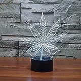 Lampada per illusione 3D foglia di marijuana Cananbis Weed Optical Visual Room Party Deco Novità Illuminazione Produttore Luce notturna a LED, Controllo touch