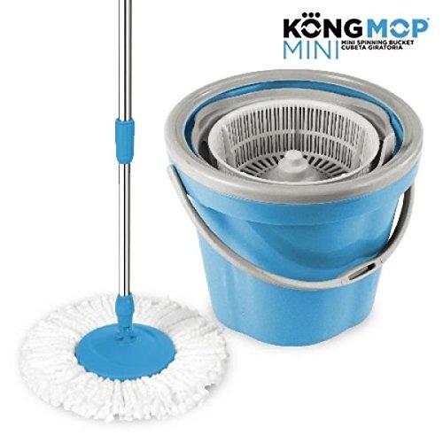 Foto de Omnidomo Kong Mop Mini Fregona Giratoria con Cubo, Palo de Altura Regulable, Recambio de Microfibra, Plástico, Azul, 28x28x28 cm