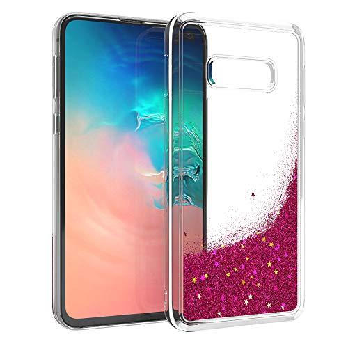 EAZY CASE Hülle für Samsung Galaxy S10e Schutzhülle mit Flüssig-Glitzer, Handyhülle, Schutzhülle, Back Cover mit Glitter Flüssigkeit, TPU/Silikon, Transparent/Durchsichtig, Pink - Pink Cover Schutzfolie