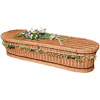 Wicker / Willow Coffin - Adult Size - AUTUMN GOLD CREAMY