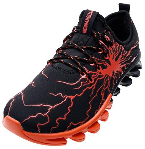 JOOMRA Damen Auslauf Lauf-Schuhe Schuhe Joggingschuhe Sport oder zur Jeans Mädchen und Jungen Sneaker Schwarz Orange 38 EU (Mädchen-jeans Braune)