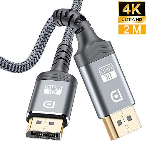 Câble DisplayPort 2M,Câble DP 4K en Nylon tressé[4K@60Hz,1440p@144Hz],Câble DisplayPort vers DisplayPort Câble pour Ordinateur Portable, TV, TV,PC ASUS/Dell/Acer - Câble de Moniteur de Jeu (Gris-New)