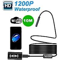 Liqiqi Cámara de inspección endoscópica inalámbrica WiFi Megapixel 1200P HD cámara Flexible IP68 Impermeable con 8 Luces LED para iPhone, iPad, teléfonos Android, tabletas