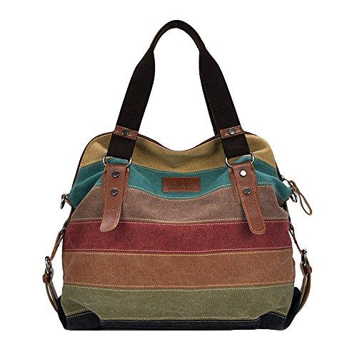 Gestreifte Damen Handtasche (Romacci Retro Damen Leinwand Handtasche Farbe Block Gestreifte Schultertasche Umhängetasche)