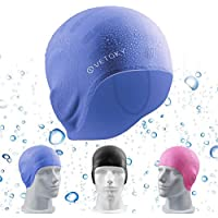 VETOKY Silicone Swim Cap, Waterproof Swim Hats with 3 Stylish Colours, Pink, Blue, Black - Designed for Adults and Kids 6+