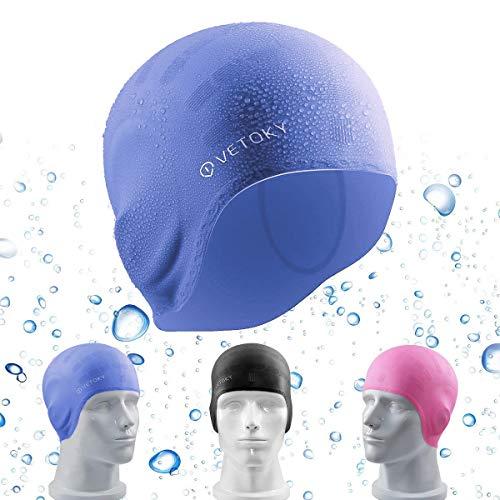 Vetoky cuffia nuoto, unisex cuffia piscina in silicone adatto per adulto e bambino - blu