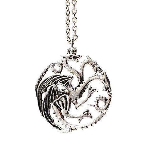 3 dirigé Dragon de collier pendentif argent Targaryen Sigil Game