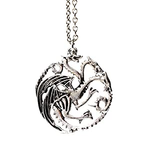 3 bastoncillos de cabezal Dragon collar con colgante de carcasa para móvil Targaryen plateado de Juego de Tronos 9