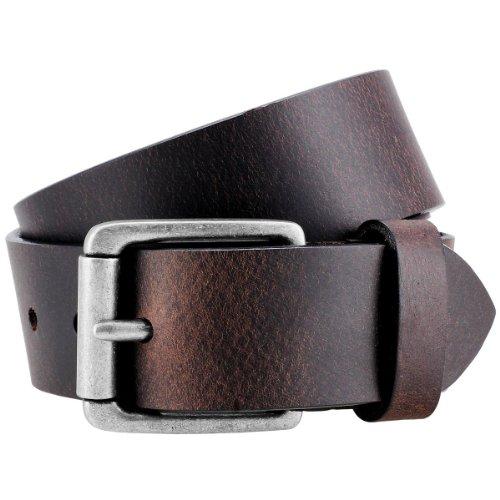 Lindenmann - Cinturón de piel de búfalo suave de color marrón oscuro, 40 mm, 9021 Marrón Braun 90