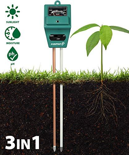 Boden Tester Meter, Fosmon 3-in-1 pH Meter, Soil Sensor für Feuchtigkeit, Licht, und pH Level Messung für Growning Garten, Rasen, Farm, Plants, Blume, Gemüse, Kraut und mehr