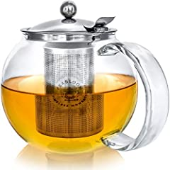 Idea Regalo - Teabloom Classica Teiera per Uso Quotidiano - Teiera in Vetro per Fornello - Capacità 1200 ml - Infusore in Acciaio Inox Removibile
