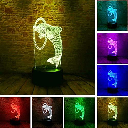 3d schöne delphin piercing 7 farben led nachtlicht illusion kinder jungen schlafzimmer dekor lampe kind weihnachten party geburtstagsgeschenke