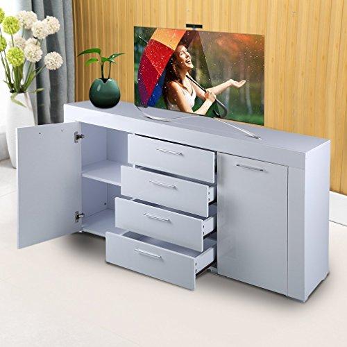 Sweepid Sideboard Weiß Hochglanz mit Doppeltür 4 Schubladen Highboard Kommode Standschrank Wohnzimmer Dekoration Lagerung Möbel