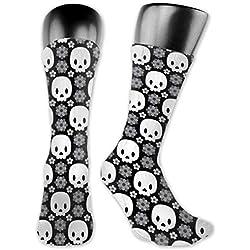 Calaveras y flores grises calcetines para correr