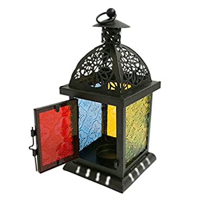 Black Moroccan Style Coloured Stained Glass Storm Lantern For Tealight Candles