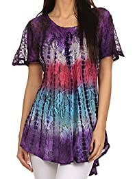 Sakkas Dina Relaxed Fit Sequin Tie Dye Embroidery Cap Sleeves Blouse / Top