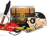 28-teiliges * KINDERPIRATEN SCHATZSUCHE SET * mit Schatztruhe + Schatzkarte - Goldtaler + Maske + Schwert + Verkleidung + uvm // Schatzkiste Schatzbox Truhe Kiste Box Piraten Schatz Party Kindergeburtstag Geburtstag