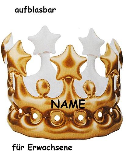 Unbekannt Krone - incl. Namen - golden Farben - Aufblasbar - für Erwachsene - lustiger Partyartikel - Königskrone - Fasching Karneval & Geburtstag 30 / 40 / 50 / 60 er ..