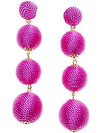 Happiness Boutique Damas Pendientes de Pompón en Color Rosa | Pendientes Oscilantes Pompón Triple Pompón Pendientes de Lágrima con Borlas