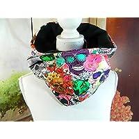 Loop-Schal Sugar Skulls bunt Mexico Schlauch-Schal Jersey Fleece
