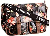 Lydc Womens Milly Floral Satchel Black SS01015 Large