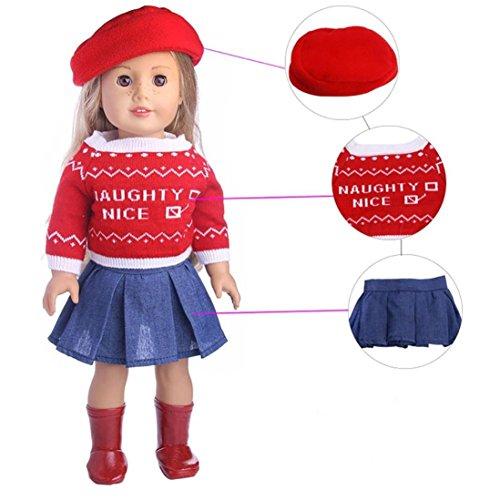 Puppen Kleidung , YUYOUG Netter Strickjacke-Hut-Ausstattungs-Rock gepasst für 18 Zoll unsere Generation American Girl Und die anderen 45-46cm Puppen , 4PC&3PC (B)