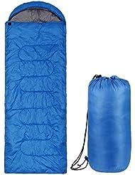 Intey Saco de Dormir Adulto Tipo Momia Con Cremallera Impermeable Ligero Azul