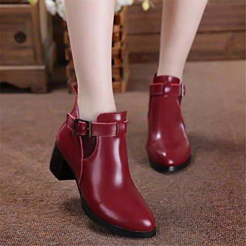 Donne Caricamenti del sistema sottili New Fashion Pointed Toe Mid Rough Heel Pelle di cuoio genuino Martin Stivali Nero Rosso Primavera Autunno Inverno Partito Lavoro Red