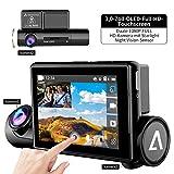Anoopsyche Dashcam Autokamera,3 Zoll OLED Full HD Touch Screen, Dual 1080P FHD Kamera mit Infrarot Nachtsicht Sensor, WDR,G-Sensor, Loop-Aufnahme, Bewegungserkennung, GPS, WiFi, APP-Steuerung